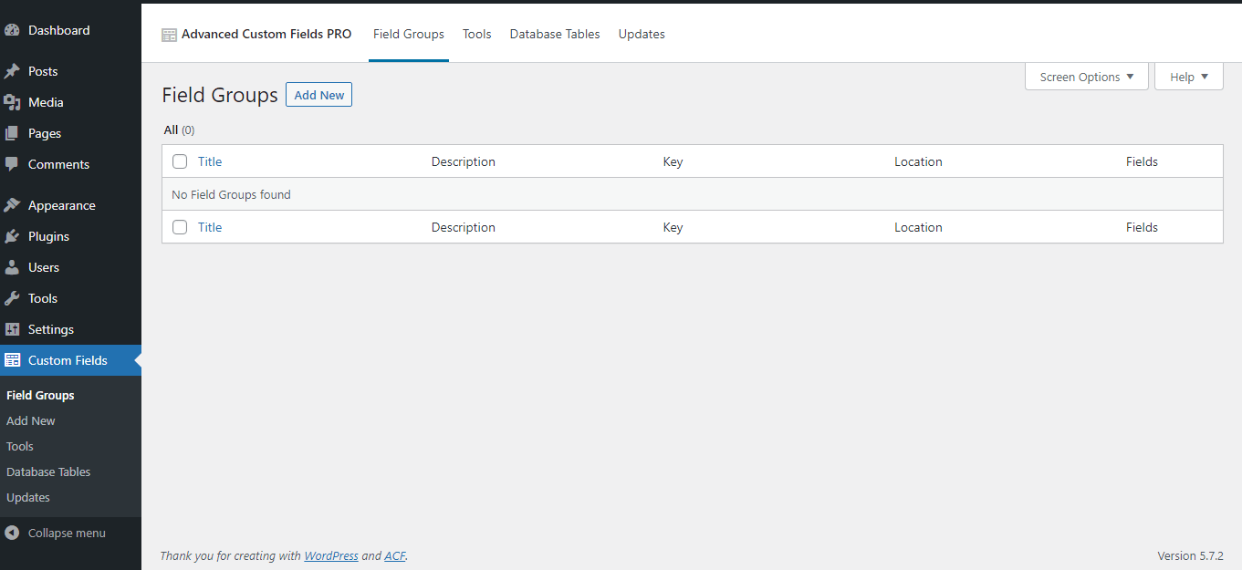 Create ACF fields lost in Custom Fields UI from Database